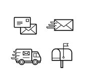 Vector icons for postal and delivery service Royalty Free Stock Photo