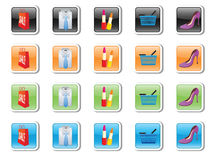 Vector icons on purchases and accessories Stock Photography
