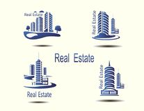 Vector icons for real estate construction.Vector icons of architecture, urban and suburban homes. For real estate construction.Vector icons of architecture Stock Images