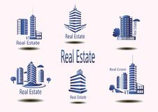 Vector icons for real estate construction.Vector icons of architecture, urban and suburban homes. For real estate construction.Vector icons of architecture Royalty Free Stock Photo