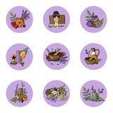 Vector icons relaxation, spa, massage, organic cosmetic, wellnes. S therapy, natural cosmetics, bio, health and body care,  alternative medicine. Violet Lavender Stock Images