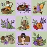 Vector icons relaxation, spa, massage, organic cosmetic, wellnes. S therapy, natural cosmetics, bio, health and body care,  alternative medicine. Violet Lavender Royalty Free Stock Photography