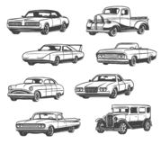 Vector icons of retro cars and vintage automobiles. Retro cars and vintage automobile models. Vector isolated icons of antique minivan or passenger coach with stock illustration