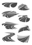Vector icons of road lanes and highway symbols Stock Photo