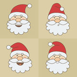 Vector icons Santa Claus emoticon faces Royalty Free Stock Photos