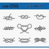 Sea Knots - Vector Outline Icons Royalty Free Stock Photography