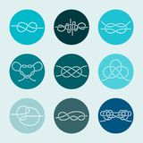 Sea Knots - Vector Outline Icons. Vector Icons of Sea Knot Collection. Editable stroke design elements for seafood restaurant menu. Set of logotypes templates Royalty Free Stock Photos