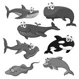 Vector icons of sea ocean fish cartoon animals Royalty Free Stock Image