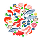 Vector icons seafood Stock Photo