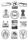 Vector icons for seafood fish food restaurant menu Royalty Free Stock Image