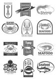 Vector icons for seafood market or fish restaurant. Seafood products icons set fro sea food or fish market an shop. Vector isolated symbols of tuna, crab or Stock Images