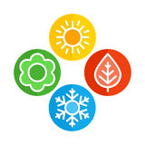 Vector icons seasons. A set of colorful icons of seasons. The seasons - winter, spring, summer and autumn Stock Image