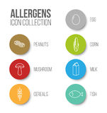 Vector icons set for allergens. (milk, fish, egg, gluten, wheat, nut, lactose, corn, mushroom) - color version Royalty Free Stock Photography