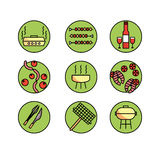 Vector icons set - Barbecue and grill. BBQ party Stock Photo