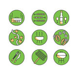 Vector icons set - Barbecue and grill. BBQ party - set in linear Stock Photography