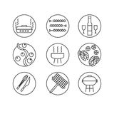 Vector icons set - Barbecue and grill. BBQ party - set in linear Royalty Free Stock Photo