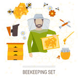 Vector icons set of beekeeping products. Royalty Free Stock Image
