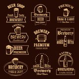Vector icons set for beer brewery pub or bar Stock Photos