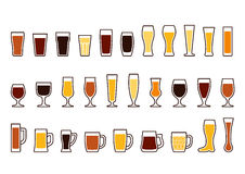 Vector icons set of beer mugs and glasses Stock Photos