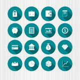 Vector icons. A set of blue round vector icons with various business symbols Royalty Free Stock Images