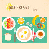 Vector icons set with breakfast food and drinks in Stock Photo