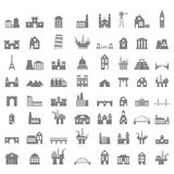Vector icons set with buildings stock illustration