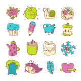 Vector Icons Set of Cartoon Objects and Characters Stock Photos