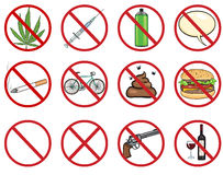 Vector icons set - 12 cartoon prohibition signs. On White Background Stock Image