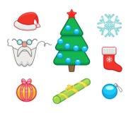 Christmas icons set. Vector icons set of christmas and new year symbols - gifts, christmas tree, sock, santa claus, snowflake stock illustration