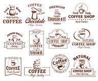 Vector icons set of coffee cups for coffeeshop Royalty Free Stock Photos