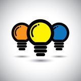 Vector icons of set of 3 colorful light bulbs Stock Photo