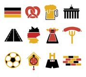 Vector icons set for creating infographics related to Germany, like leather trousers, beer mug, pretzel, royalty free illustration