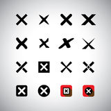 Vector icons set - cross marks, wrong choice Stock Photo