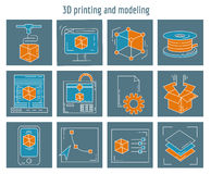 Vector icons set 3d printing and modeling Stock Image