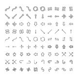Vector icons set different arrows and pointers on white background Royalty Free Stock Images