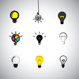 Vector icons set of different idea & light bulbs. Concept vector icons set of different kinds idea & light bulbs. This graphic can also represent genius Royalty Free Stock Photos