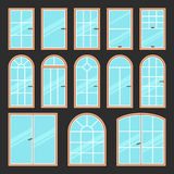 Vector icons set of different types of windows black and white. Architecture frame silhouette . Building element Stock Photo