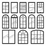 Vector icons set of different types of windows Royalty Free Stock Image
