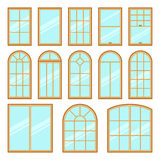 Vector icons set of different types of windows Stock Photography