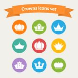 Vector icons set of different  white crowns shapes Royalty Free Stock Photo