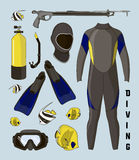 Vector icons set of diving equipment Royalty Free Stock Images