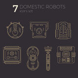 Vector icons set of domestic robots in line art. Style. Different types of robots. Can be used as web-site or infographic elemets, in print design Royalty Free Stock Photos