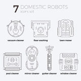 Vector icons set of domestic robots in line art. Style with text descriptions. Different types of robots. Can be used as web-site or infographic elemets, in Royalty Free Stock Images