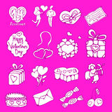 Vector icons set. Vector doodle icons set for St. Valentines Day Stock Image