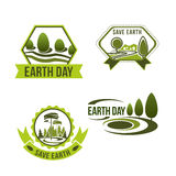 Vector icons set for earth day or ecology company Stock Photos