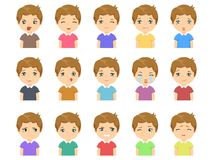 Set of Cartoon cute caucasian boy face emotions. Vector Icons. Set of 15 emotions Royalty Free Stock Image