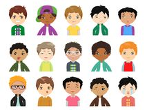 Set of Cartoon cute  multi-ethnic boys face emotions. Funny kids of different races with various. Vector Icons. Set of 15 emotions Royalty Free Stock Photography
