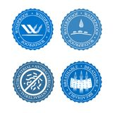 Vector icons set of fabric features. Wind proof, antibacterial, waterproof, and breathable wear labels. Textile industry. Pictogram for clothes line Royalty Free Stock Photos