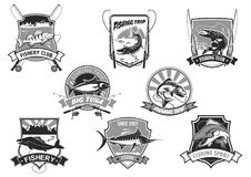 Vector icons set for fishing or fisher sport club. Fishing club or fishery trip icons set. Vector isolated symbols of big fish catch river perch and sea tuna or vector illustration