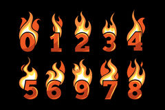 Vector icons set of Flaming Numbers. Royalty Free Stock Photo